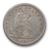 1860 S 50C LIBERTY SEATED HALF DOLLAR EXTRA FINE XF LUSTER REMAINING R1462