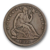 1866 S WITH MOTTO LIBERTY SEATED HALF DOLLAR FINE TO EXTRA FINE R1468