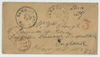 MR FANCY CANCEL STAMPLESS COVER YANKEE JIM'S CAL CDS PAID 29 TO BUZZARD ENGLAND