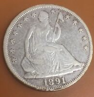 1891 P SEATED LIBERTY SILVER HALF DOLLAR : NICE CIRCULATED COIN