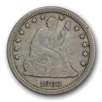 1883 25C LIBERTY SEATED QUARTER FINE TO EXTRA FINE KEY DATE R1635