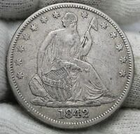 1842 SEATED LIBERTY HALF DOLLAR 50 CENTS. NICE COIN  1158