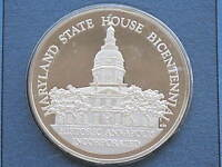 MARYLAND STATE HOUSE BICENTENNIAL COMMEMORATIVE SILVER MEDAL FRANKLIN MINT D1769
