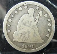 1891 SEATED LIBERTY QUARTER   FINE    RIM DING     P 224