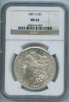 1887-S MORGAN DOLLAR UNCIRCULATED US MINT GEM PQ SILVER COIN BU NGC MINT STATE 62
