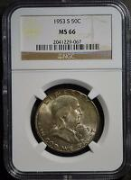 1953 S NGC MS66 FRANKLIN HALF DOLLAR OLD GEM  90 SILVER COIN SHIPS FREE