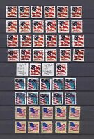 USED PLATE NUMBER COIL SINGLES PNC1: 98 DIFFERENT FLAG STAMPS - LOT 02