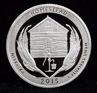 2015 S PROOF AMERICA THE BEAUTIFUL HOMESTEAD DCAM PROOF 90 SILVER COIN UNC
