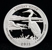 2015 S PROOF AMERICA THE BEAUTIFUL BOMBAY HOOK DCAM PROOF 90 SILVER COIN