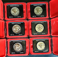 1870 1970 LOT OF 6 CANADA MANITOBA PROOF LIKE DOLLARS IN PRESENTATION CASES  B13