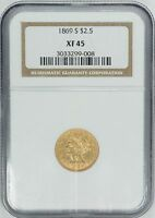 1869 S $2.50 GOLD LIBERTY HEAD QUARTER EAGLE   PCGS XF45