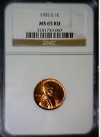 1955S NGC MS 65 FULL RED LINCOLN CENT SUPER 100 ORIGINAL COIN 1955 S
