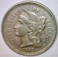 1865 CH BU THREE CENT 3C NICE LUSTROUS US COIN ESTATE LOT 3
