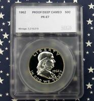 1962 FRANKLIN PROOF SILVER HALF DOLLAR IN COIN HARD PLASTIC HOLDER D CAM