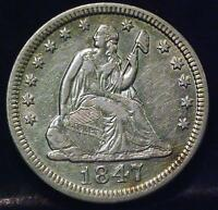 1847 SEATED LIBERTY QUARTER ID792