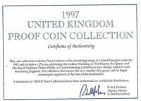 1997 GREAT BRITAIN 10 COIN 1 PIECE C.O.A. AND DOCUMENT SET NO COINS FREE SHIP