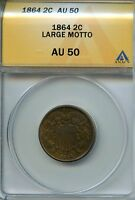 1864 2C ANACS AU 50 LARGE MOTTO ABOUT, ALMOST UNCIRCULATED TWO CENT