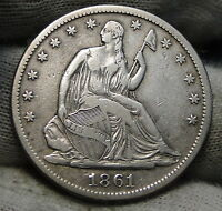 1861S SEATED LIBERTY HALF DOLLAR 50 CENTS   KEY DATE ONLY 939,500 MINTED 4874