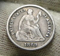 1869S SEATED LIBERTY HALF DIME H10C    KEY DATE ONLY 230,000 MINTED 5830