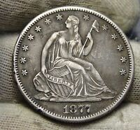 1877CC SEATED LIBERTY HALF DOLLAR 50 CENTS   KEY DATE NICE COIN 5833