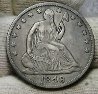 1848 O SEATED LIBERTY HALF DOLLAR 50 CENTS.  NICE OLD COIN  5862