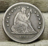 1862 SEATED LIBERTY QUARTER 25 CENTS   KEY DATE 932,000 MINTED NICE COIN 5831