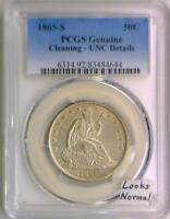 1865 S SEATED LIBERTY HALF DOLLAR PCGS CERTIFIED UNC DETAILS