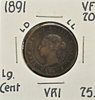 1891 LD LL CANADA ONE CENT VF 20