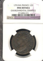 FRANCE 12 DENIERS 1791.MA. NGC CERTIFIED FINE DETAILS STOCK 0750