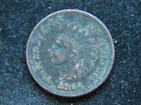 1864 1C L ON RIBBON BN INDIAN CENT  KEY DATE FULL BOLD LIBERTY CORRODED