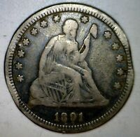 1891 ERROR SEATED QUARTER W/ CLIP NICE FULL LIBERTY SILVER .25 CLIPPED US COIN