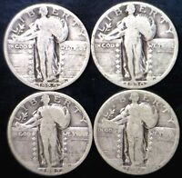 1927 1928 1929 & 1930 STANDING LIBERTY QUARTER SILVER LOT OF 4 COINS  NO RESERVE