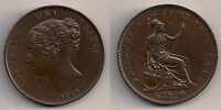 1844 VICTORIA   COPPER PENNY.HIGH GRADEFAST POST