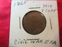 1865 US CIVIL WAR ERA 2 CENT COIN UNGRADED ITEM3614