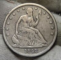 1842 SEATED LIBERTY HALF DOLLAR 50 CENTS. NICE COIN  4828