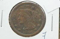 1846 LARGE CENT VG N 23 REPUNCHED 1 MINT ERROR