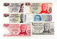 6 DIFFERENT ARGENTINA PAPER MONEY 1970'S 80'S AU UNC.