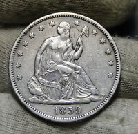 1859 SEATED LIBERTY HALF DOLLAR 50 CENTS   KEY DATE ONLY 747,200 MINTED. 6004