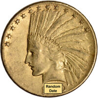 US GOLD $10 INDIAN HEAD EAGLE   VF CONDITION   RANDOM DATE