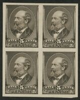MR FANCY CANCEL 205P4 PLATE PRROF CARD VF BLOCK OF 4 NG AS ISSUED CV$100 NO RES