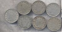 LOT OF 7 DIFFERENT VF V NICKELS: 1883NC 1905 1907 1908 1910 1911 & 1912