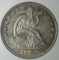1855 O AU55 SEATED LIBERTY HALF DOLLAR NEW ORLEANS 90 SILVER COIN SHIPS FREE