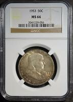1953 NGC MS66 FRANKLIN HALF DOLLAR OLD GEM  90 SILVER COIN SHIPS FREE