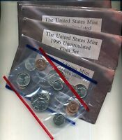 1996 UNITED STATES P AND D MINT SET CHOICE BU  LOT OF 5 NO W DIME