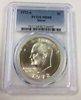 1972 S EISENHOWER DOLLAR 40 SILVER PCGS MS68