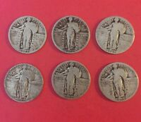 LOT OF 6 US SILVER STANDING LIBERTY QUARTERS 1925,1926S,1927,1928,1929D,1930