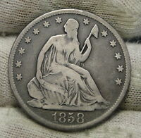 1858S SEATED LIBERTY HALF DOLLAR 50 CENTS   KEY DATE ONLY 476,000 MINTED 6104