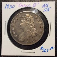 1830 CAPPED BUST SILVER HALF DOLLAR SMALL 0 VARIETY AU