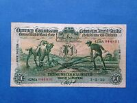 COLLECTABLE 1939 BANK OF IRELAND PLOUGHMAN 1 PICK 8B GOOD FINE