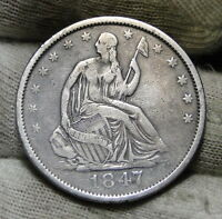 1847 O SEATED LIBERTY HALF DOLLAR 50 CENTS.  NICE OLD COIN  6021